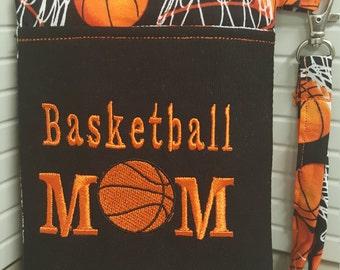 "Cute Handmade Basketball ""Mom"" Phone Wristlet"