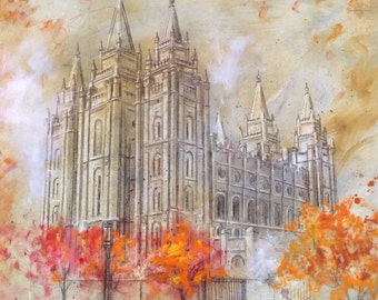 ON SALE! Salt Lake Temple Autumn Leaves LDS Mormon Temple Art.  Unique Canvas Print for your Home or as a Gift!