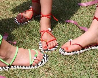 Sandals - creative set in zebra girl - individual fashion