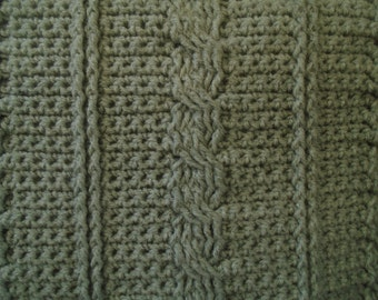 Crochet cable pillow