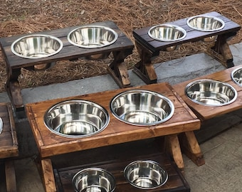 Small Farmhouse X-Style Raised Pet Feeder