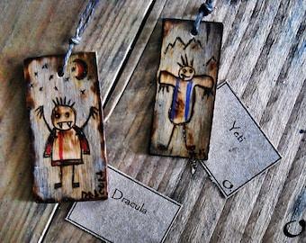 Dracula;Yeti-handmade wooden pendants,wooden necklace,wooden pendant,mythology pendant,funny pendant,pyrography,wooden jewelry,handmade