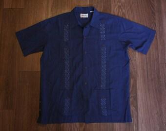 Vintage Guayabera Short-Sleeved Dress Shirt