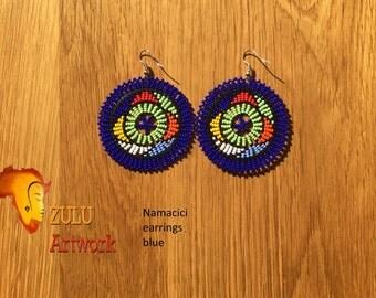 Namacici blue- ZULU beaded earrings