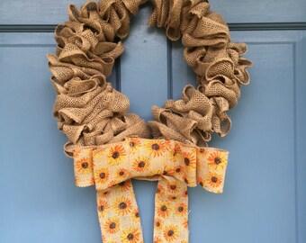 Burlap wreath with sunflower bow
