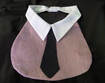 Baby Bib - Salmon & Cream - Black Tie