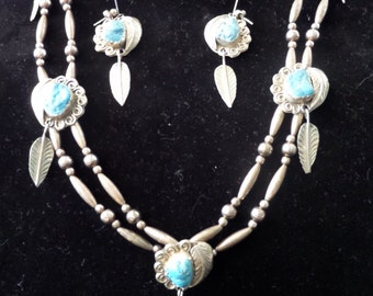 Vintage Turqoise Stone & STerling Silver Feather Necklace Set