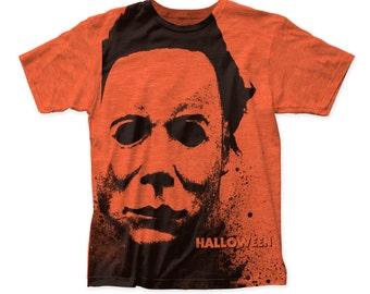 Halloween - Splatter Mask Slim Fit T-shirt - SUBHW01(Orange)