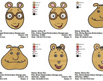 11 Arthur Embroidery Designs