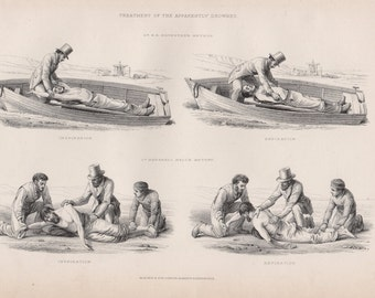 Antique Nautical Lithograph - Antique Industry Lithograph from 1857