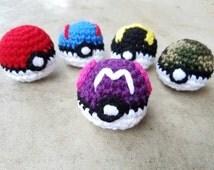 "Crochet Master Ball Pokeball Amigurumi - Stuffed Pokeball in Purple and White with Hot Pink Accent - 2.5"" Diameter - Pokemon Palm Sized Toy"