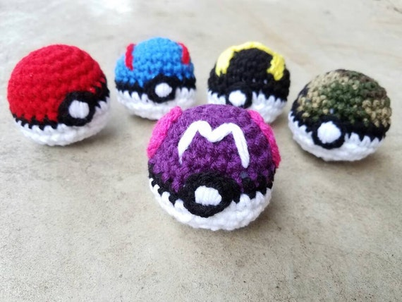 Amigurumi Master Ball : Crochet Master Ball Pokeball Amigurumi Stuffed Pokeball in