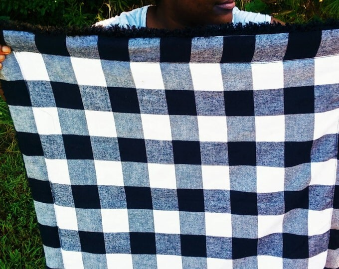 Black and White Plaid double sided baby blanket