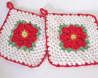 PAIR Crochet Poy Holders / Red Roses
