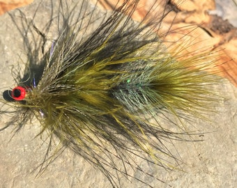 Olive and black articulated streamer fly
