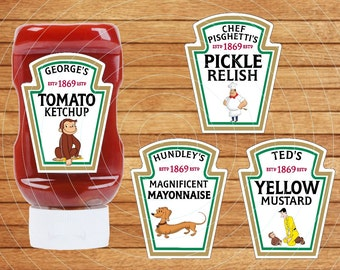 Curious George Condiments Labels, Curious George party condiments label, Printable, Instant Download, PDF and JPG, Easy to use.