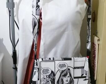 Bag, shoulder strap, cartoon, funny, black and white