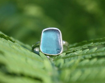 Bright Spanish Aqua/Teal Sea Glass Ring