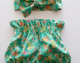 Baby Girl/Toddler High waist Bloomer Set with Head Wrap