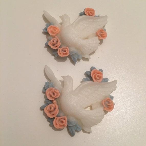 2 Dove with blue & pink roses Resin wedding Cabochon flatback kawaii decoden bird vintage diy scrapbooking embellishments crafts jewelry