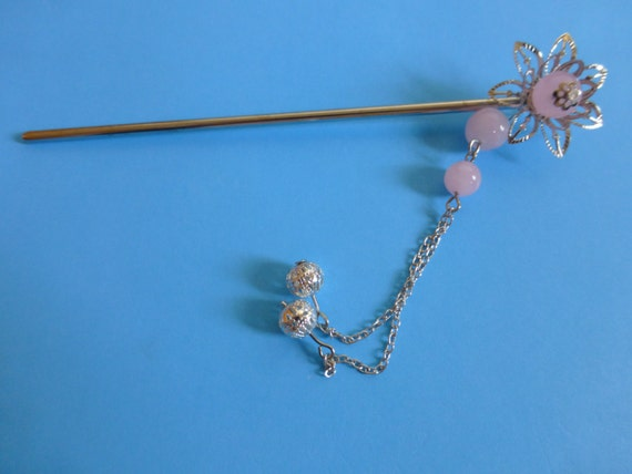 Chinese Sliver Flower and Pink Beads Hair Accessories Hair Stick Hair Pins