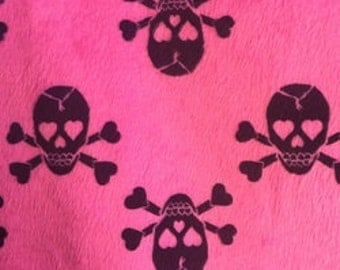 Fuchsia, Grey Jolly Rogers Skulls Minky Fabric By The Yard