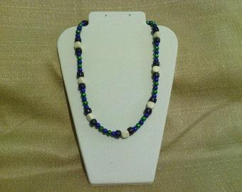 202 Lovely Cobalt Blue Beaded Necklace