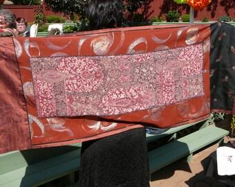 OOAK silk shawl, Upcycled kimono silk, Fun wrap, Fancy stole, Casual shawl, Festival style, Gypsy look, Summer shawl, Original design, 127