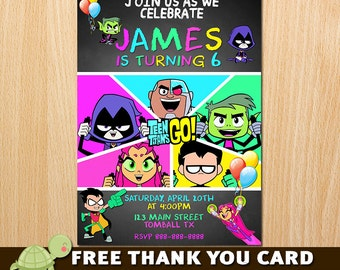 Teen Titans Go! Invitation - Free Thank you card