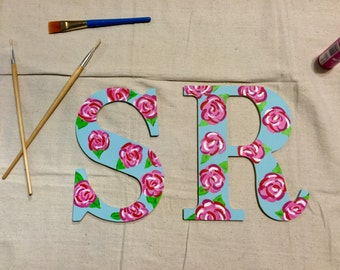 Hand painted letter- Lilly Pulitzer inspired print