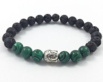 Mens bracelet,lava rock,malachite,mens jewellery,mens gifts,lava rock bracelet,malachite bracelet,crystal healing,gemstone jewellery,reiki