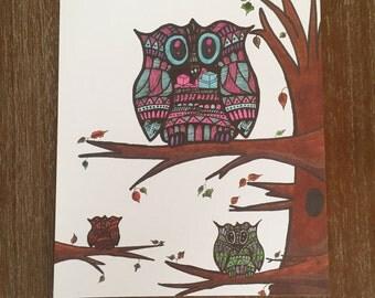 3 zentangle owls print