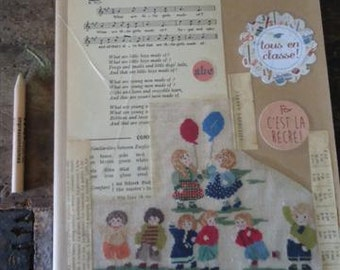 Notebook kraft embroidered children 19x25cm