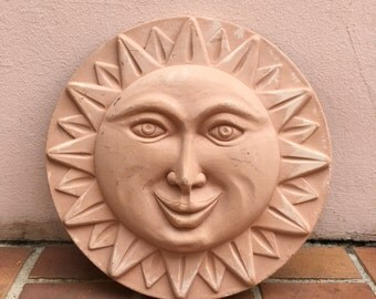YELLOW vintage French potery Sun WALL decoration handmade