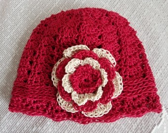 Baby Cloche Hat with Flower Embellishment