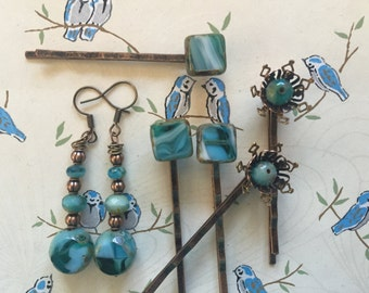 Blue and Copper Bobby Pin and Earring Set