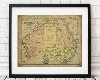 Australia Map Print, Vintage Map Art, Antique Map Wall Decor, Australian Wall Art, Australia Art, Australia Print, History Gift, Cartography