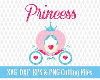 Princess Carriage SVG Files Heat Transfer Vinyl Designs, Baby, Cricut Files, Silhouette Cameo Cutting File DXF ESP, Commercial Use