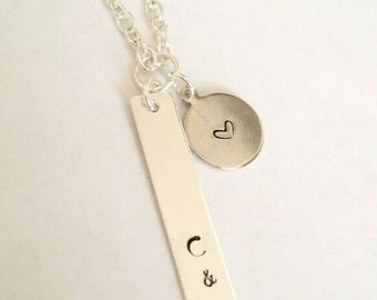 Two initial necklace with heart