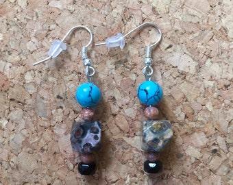 Turquoise Leopard Jasper and Onyx Earrings