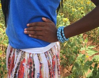 Sky Blue paper bead bangle handmade in  Uganda