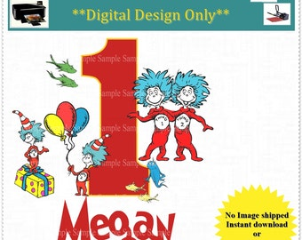 Thing 1 and 2 Birthday Transfer Image; Birthday Printable Iron on Transfer Image: FREE Personalization; Any Age