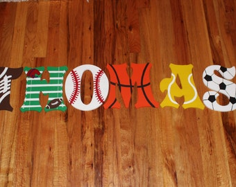 Sports Letters - Handpainted Custom Made - Sports Decor - Kids Decor - Sports Room Decor