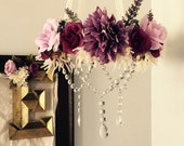 Flower Mobile, Floral Mobile, Flower Chandelier, Floral Chandelier, Crystal Mobile, Girl Nursery, Newborn Photography Prop, Purple Flower