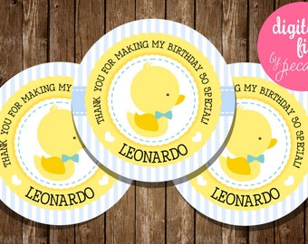 Rubber Duckie Favor Tags, baby duckling, duckie, birthday tags, baby duckie tags, rubberduck tags, duckling thank you tags, duck baby shower