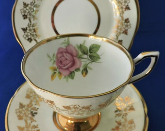 Vintage 1950's English Bone China Tea Cup Trio - Pink Roses & Gold Leaf by Clare