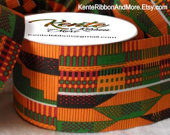"Kente Style Ribbon - NON-wired - 2.5"" x 20 yards roll - Printed Kente Cotton Fabric (starched)"