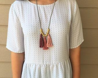 Pink Tassel Necklace