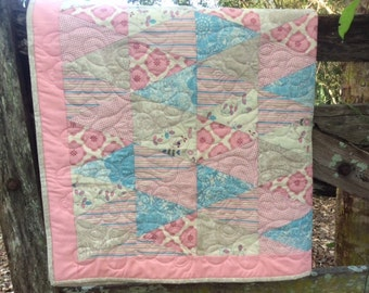 Baby Quilt Pink and Beige