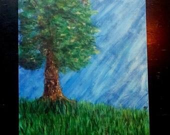 Tree - Nature Green by NKatko Original Acrylic 9x12 Canvas Paper
